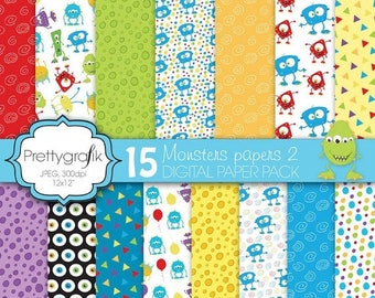 80% OFF SALE monster digital paper, commercial use, scrapbook papers, background  - PS587