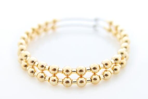 Gold Hoops, Beaded Hoops, Gold Earrings, Beaded Earrings, Beaded Gold Hoops