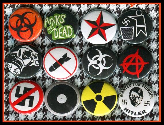 12 Anti Nazi Punk Rock Symbols 1 Inch Buttons