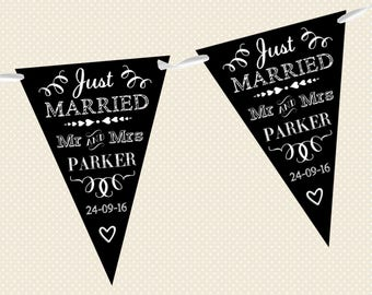 Personalised Chalkboard Bunting - Wedding - Just Married - Design 1 - Made in UK