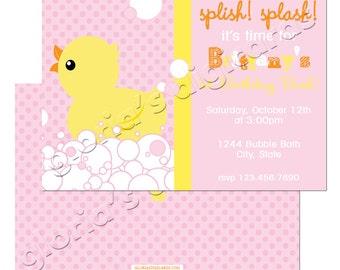 BA007 Ducky Splish Splash  Birthday Party Invitation