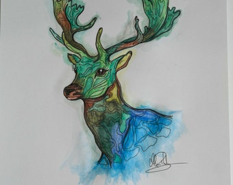 Green and blue deer