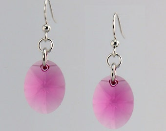 Pink Crystal Drop Earrings - E2582 - Free Shipping