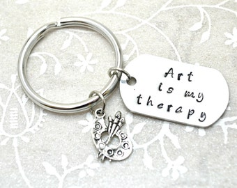 Stamped Keychain, Art Keychain, Gift for Artist, Gift for Painter, Artist Keychain, Artist Jewelry, Artist Gift, Art Keyring, Art Accessory