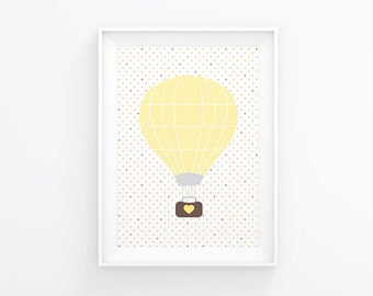 Gender neutral Nursery art - Hot air balloon - Nursery Printable - Nursery wall art - Nursery decor - Digital download, 8x10