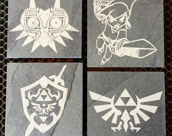 Legend of Zelda Inspired Engraved Slate Coasters