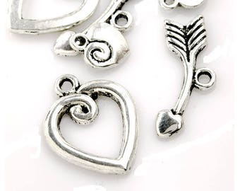 clasp toogle (B38) silver arrow heart love charm