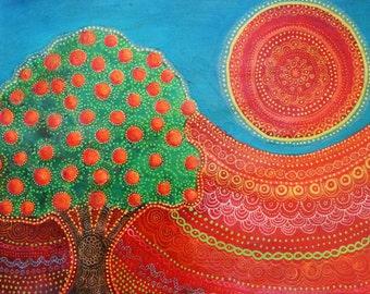 Orange Tree Sun, Original painting.
