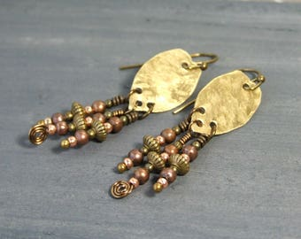 Boho Metal Earrings Metalwork Earrings Brass Earrings Small Bohemian Jewelry Rustic Jewelry Handmade Gift for Her Unique Earrings Copper