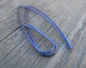 indigo niobium earrings. royal blue jewelry. hypoallergenic earings. splurge