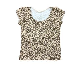 90s Y2K Fuzzy Leopard Print Top
