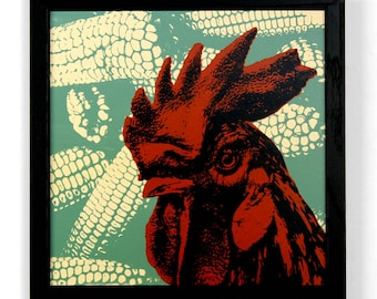 Rooster with Corn, Framed Silkscreen Print