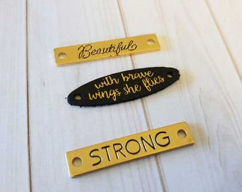Quote Connectors Quote Pendants Word Pendants Quote Links With Brave Wings She Flies Pendant Strong Charm Leather Charm Gold Black