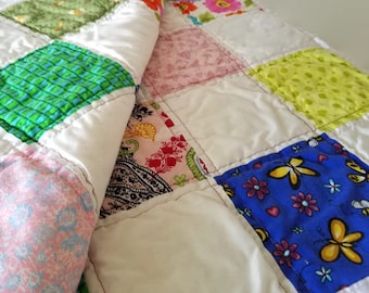 Cottage Garden, Summer Quilt, Throw Size Scrap Quilt, Bright Colorful Country Patchwork, Home Decor, Bedding