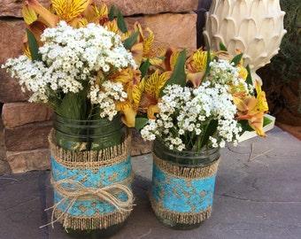 Mason Jar Wrap, Aqua Blue Lace & Burlap, Mason Jar Decoration, Baby Shower, Party,  Wedding Decoration