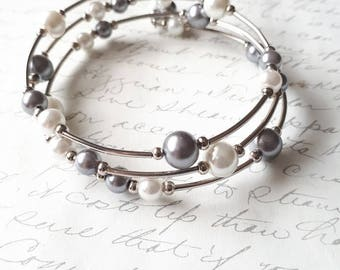 White and silver grey pearls memory wire bracelet