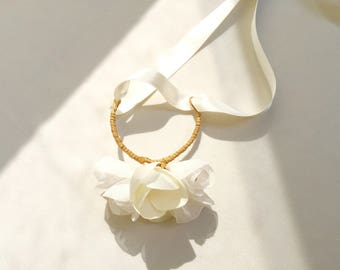 Ivory flower bracelet for bride - wedding jewelry and accessories