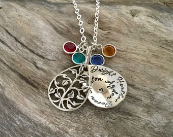 Christmas gift | Family Necklace | Family Tree Necklace | Birthstone Necklace | Gift for Grandmother | Grandma Necklace | Tree Of Life