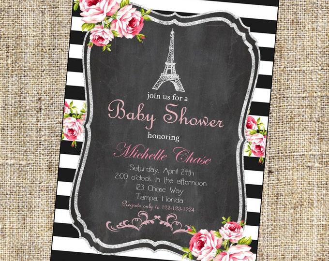 Vintage Paris Shower Invitation, Paris Shower Invitation, Eiffel Tower Invitation, French Shower Invitation - Paris Collection