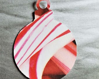 Christmas Ornament Gift Sales Party Tags, Red and White Ornament Gift Tag