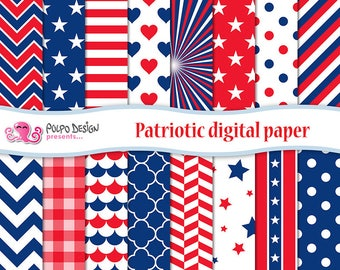 Patriotic digital paper. 4th Of July Papers, United States, america backgrounds Memorial Day seamless tileable July 4th papers, red and blue