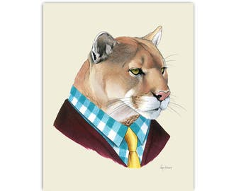 Mountain Lion art print 8x10