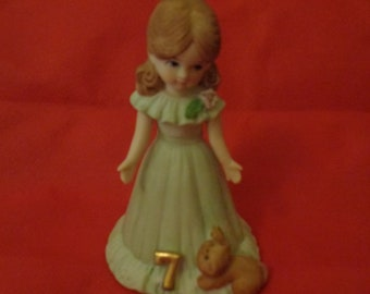 "1982 Enesco Brunette 4-1/2"" Growing Up Girl Figurine Age 7"