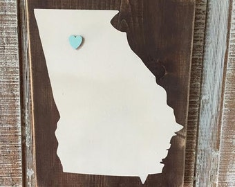 Rustic State Art Wood Sign - Choose Your State - Picture