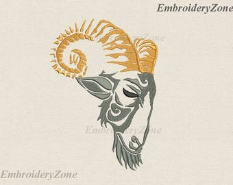 Goat embroidery, Machine Embroidery design Goat. A goat with horns Embroidery pattern designs. 2 sizes