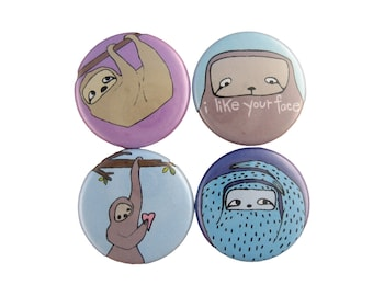 I Like Your Face - Set of 4 Sloth Pinback Buttons - Blue and Purple Sloth Pins
