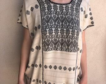 "Collectors  Mexican Huipil tunic dress handwoven white black Amuzgos Oaxaca boho resort Frida Kahlo 26"" W x 37""L"