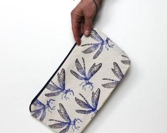 Dragonfly clutch bag, large pencil case, boho clutch, block printing, handmade