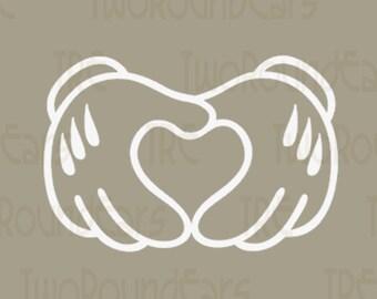 Mickey Heart Hands (Vinyl Decal)