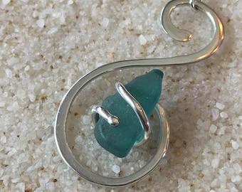 Fine Silver & Sea Glass Pendant