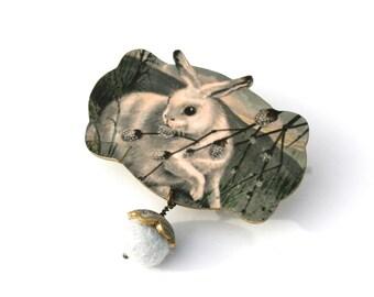 Bunny Rabbit Woodland Brooch Bunny Pin Easter Gift Easter Jewelry Spring Gift Spring Jewelry Bunny Jewelry Rabbit Jewelry Shrink Plastic