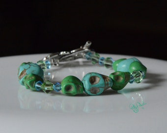 Happy Green Skulls Bracelet