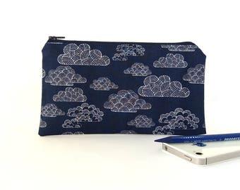 Makeup pouch, Clouds, Pencil bag, Small zipper pouch, Travel wallet, Zip up pouch Pencil pouch, Student gift, Teacher gift, Indigo zip pouch