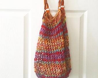 Market bag knitting kit - knitting kit - includes purse handles - includes needles - free shipping