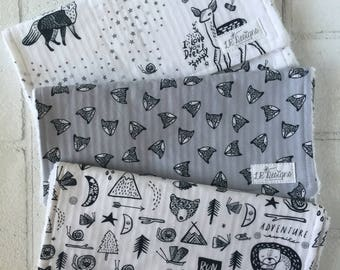 Woodland Burp Cloth Set of Three   Black and White Baby Burp Cloths   Gender Neutral Burp Cloths   Baby Gift   Baby Shower Gift
