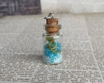 A Bit 'o Beach in a Bottle - Mini Bottle Charm Pendant - Sand and Moss