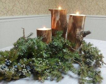 Natural candle holders, Tea candles,  Rustic candle holder,  Wedding candles, Natural wedding, Log candle holder, Aspen candle holder