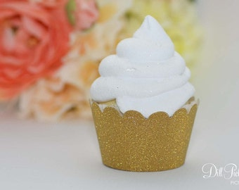 Gold Glitter Cupcake Wrappers - Set of 24 - Standard or Mini Size