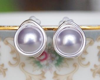 Lavender Studs , Bridesmaid Earrings , Light Purple Studs , Swarovski Pearl Studs