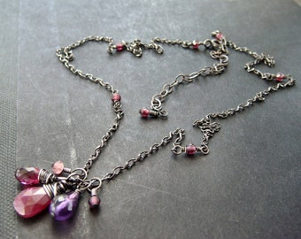 Ruby Garnet Amethyst Necklace, Sterling Silver Gemstone Necklace, Oxidized Boho Necklace, Wire-Wrapped Sterling Silver, Briolette Pendant