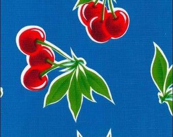 Round Cherry Blue Oilcloth Floor Mat Splat Mat or Tablecloth