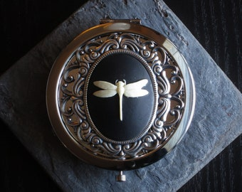 Dragonfly cameo compact mirror, silver compact mirror, lucky mirror, bridesmaid gift, holiday gifts, unique Christmas gift, birthday gift