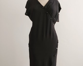 80s black silky batwing dress