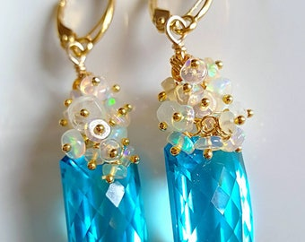 Sea Blue Topaz with Ethiopian Opal and Moonstone Cluster on Gold Vermeil Leverbacks Bridal Earrings Gift for Her