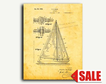 Patent Print - Sailboat Patent Wall Art Poster Print