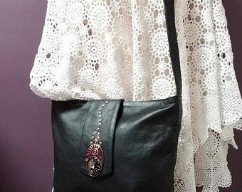 Leather handbag, genuine black leather bag, Hobo bag, large boho bag, bohemian bag, hippie shoulder bag, cross body bag, long strap bag